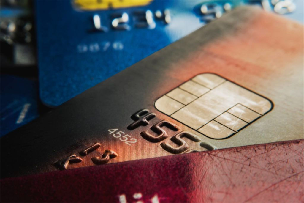 Close-up view of a few credit cards on top of each other