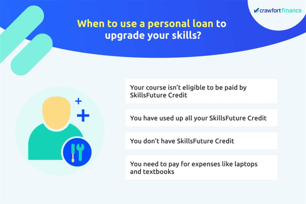 Infographic on scenarios to take out a personal loan in Singapore for skills-upgrading