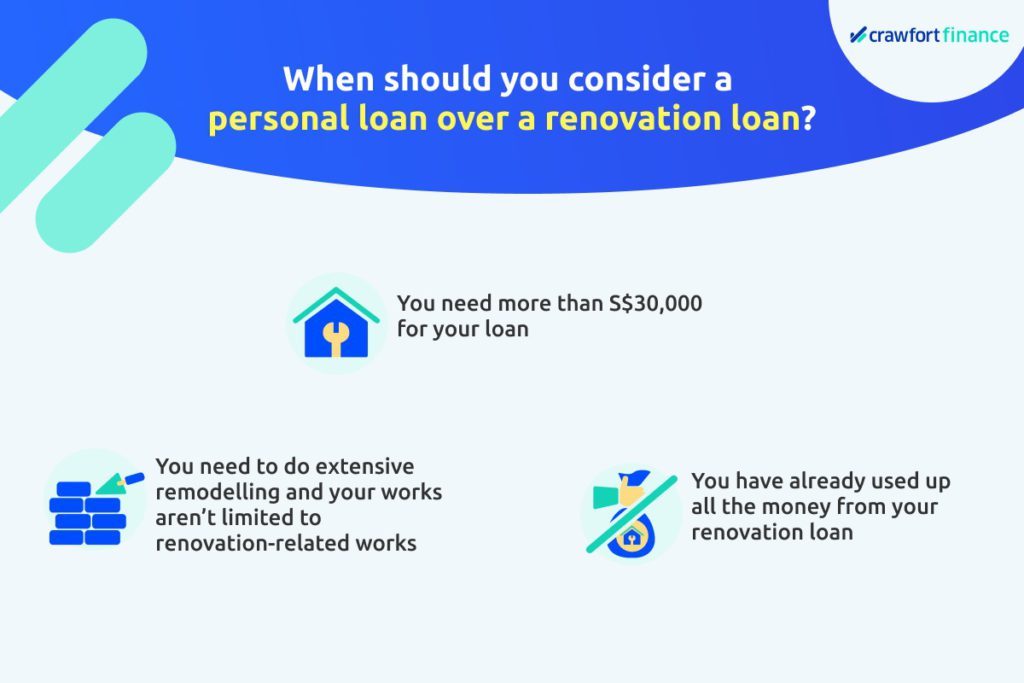 Infographic on situations in which you should take out a personal loan over a renovation loan in Singapore