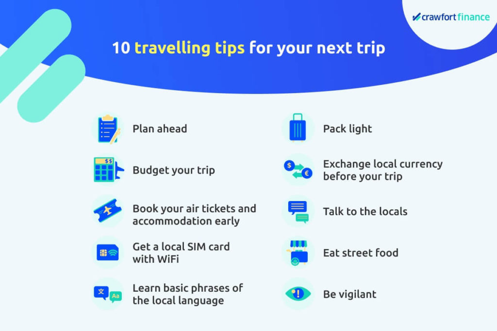Infographic on 10 travelling tips for your next trip