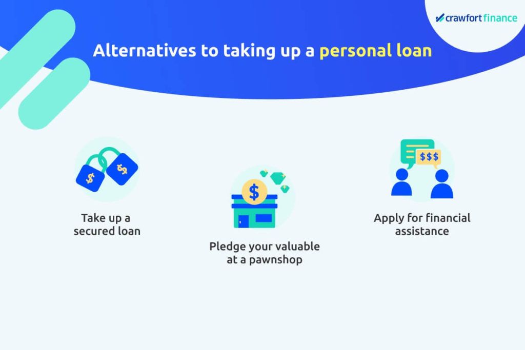 Infographic on alternatives to taking up personal loan in Singapore for when you're unemployed