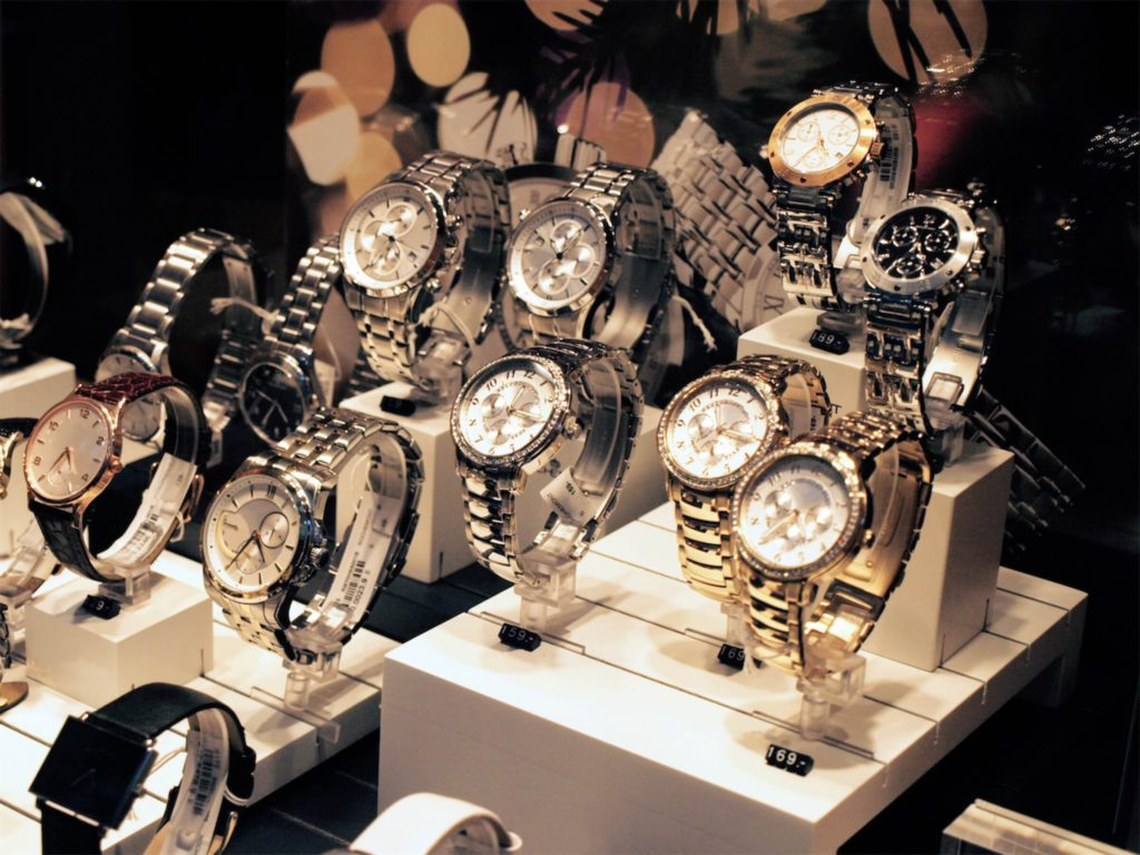 Branded watches put on display at a pawnshop