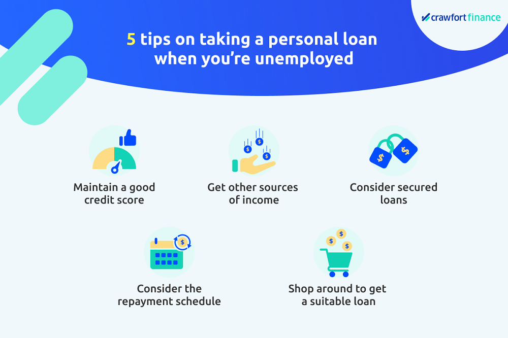 Infographic on tips on taking a personal loan in Singapore when you're unemployed