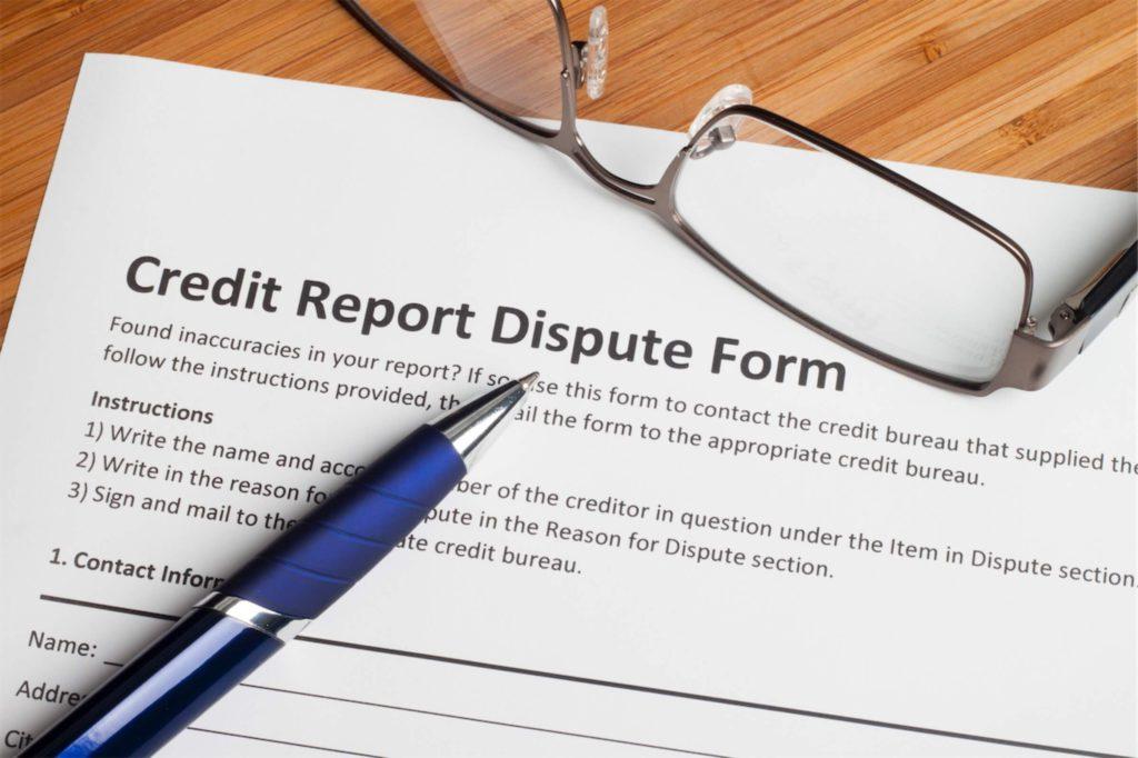 A credit report dispute form
